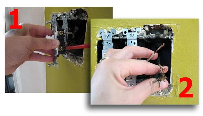 Eliminar cables del interruptor anterior