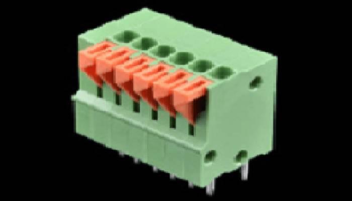 Terminales de resorte - Montaje en PCB (6 pines)