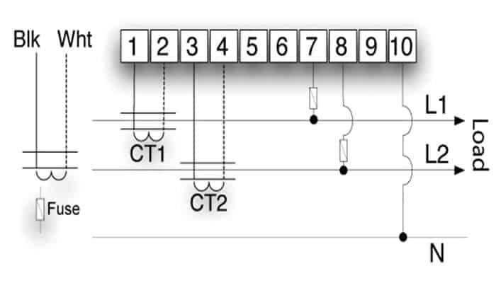 Diagrama de fase simple para Sistema Monofásico De 3 Hilos