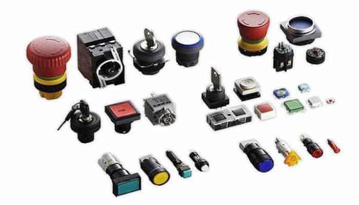 Tipos de pulsadores eléctricos industriales