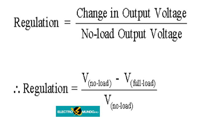 Regulación de la tensión del transformador como un cambio fraccionario