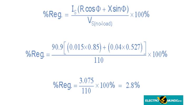 Ejemplo de regulación de la tensión del transformador No3