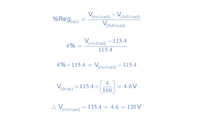 Ejemplo de regulación de la tensión del transformador No2