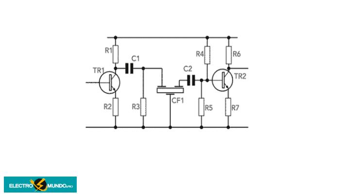 Circuito cerámico de filtro pasabanda usando transistores y mostrando los arreglos de DC