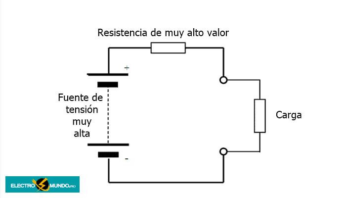 Circuito simple de fuente de corriente con resistencia