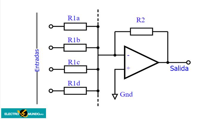 Amplificador sumador de op-amplificadores