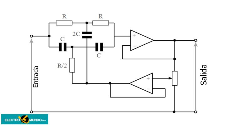 Circuito de filtro notch de doble T con Q variable