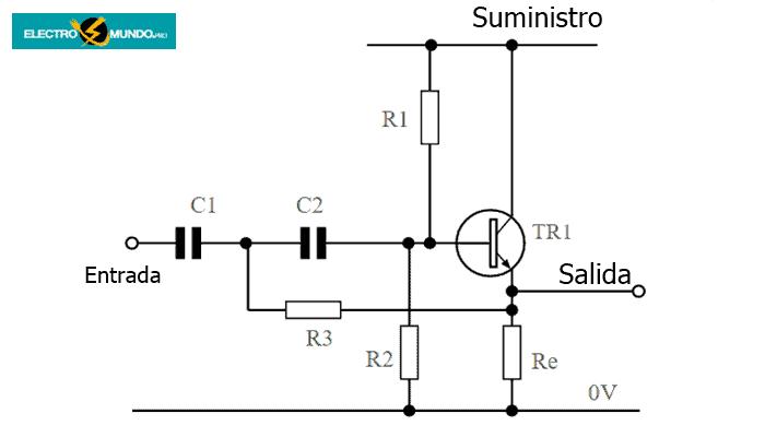 Circuito de filtro paso alto activo de un transistor