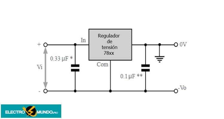 Circuito de alimentación negativa del regulador de tensión de la serie 7800
