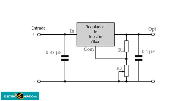 Circuito regulador de tensión variable